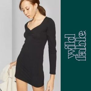 Wild Fable Black Long Sleeve Bodycon Dress- Size S
